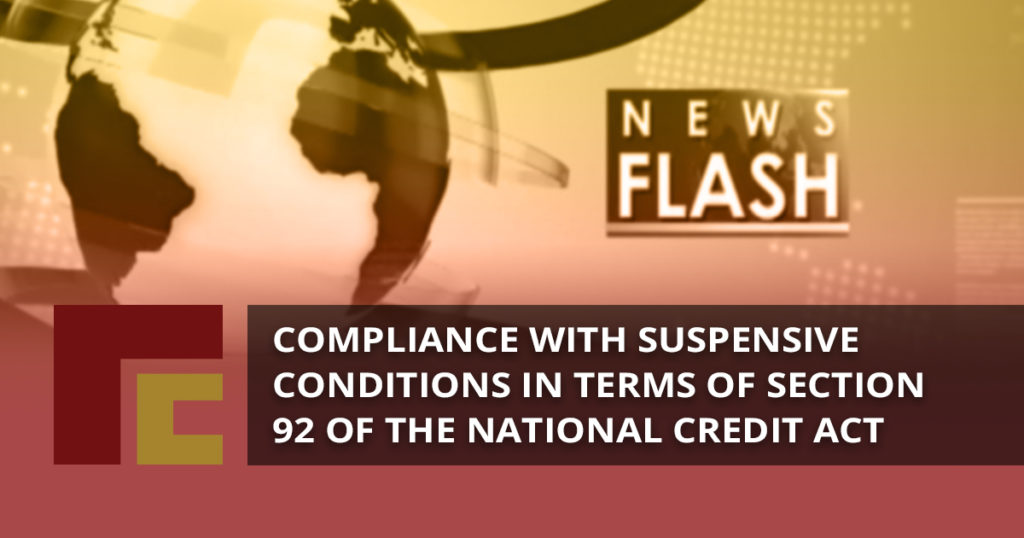 Compliance with suspensive conditions in terms of Section 92 of the National Credit Act